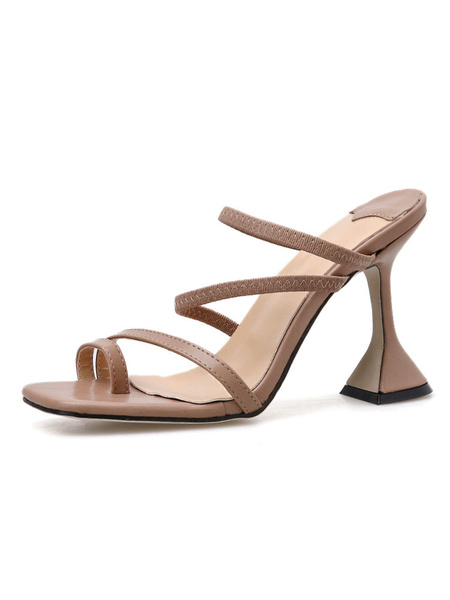 Milanoo Women\s Strappy Sandal Slippers Square Toe Slides Shoes