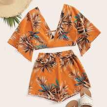 Tropical Plunging Crop Top & Pom Pom Shorts Set