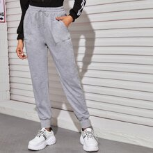 Slant Pocket Elastic Waist Sweatpants