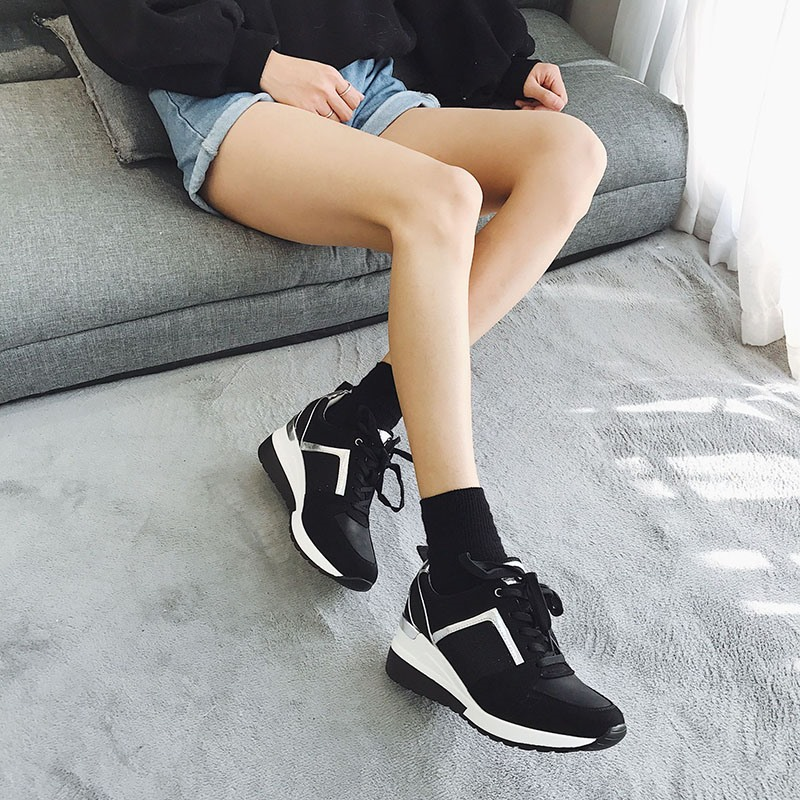 Ericdress Lace-Up Low-Cut Upper Thread Wedge Heel Sneakers
