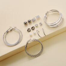 9 Paare Ohrringe Set mit Kunstperlen