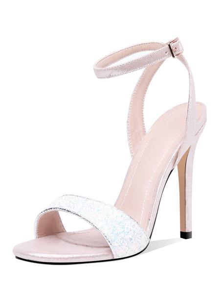 Milanoo High Heel Sandals Womens Sequined Open Toe Slingback Stiletto Heel Sandals