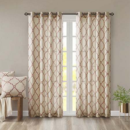 Madison Park Westmont Fretwork Print Light-Filtering Grommet-Top Single Curtain Panel, One Size , Yellow