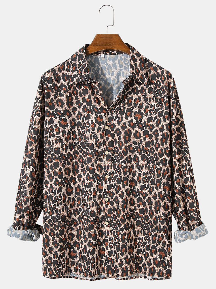 Mens Leopard Print Casual Lapel Collar Loose Fit Holiday Long Sleeve Shirts