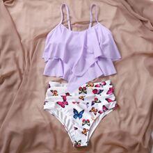Butterfly Print Hanky Hem Bikini Swimsuit