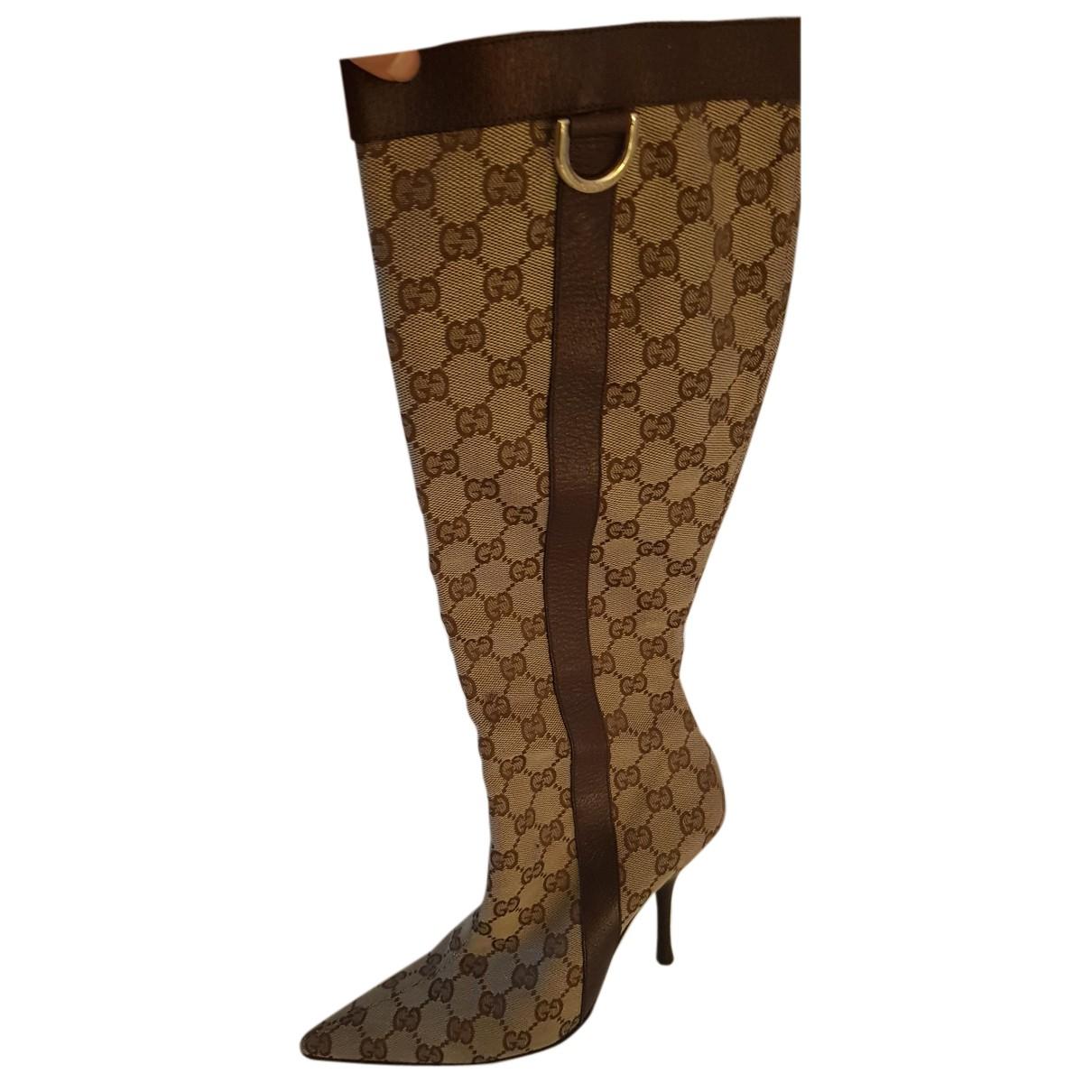 Gucci - Bottes   pour femme en toile - marron