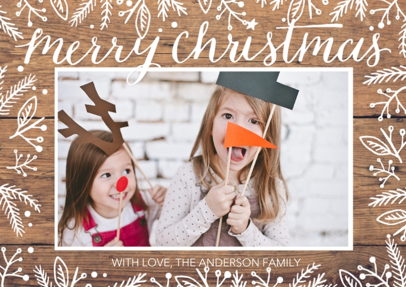 Christmas Photo Cards 5x7 Cards, Premium Cardstock 120lb, Card & Stationery -Christmas Rustic White Floral