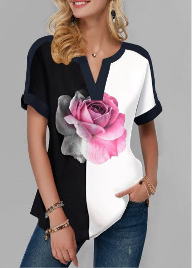 Women'S Black And White Floral Printed Short Sleeve Tunic T Shirt Color Block Notch Neck Rose Print Casual Top By Rosewe - XL