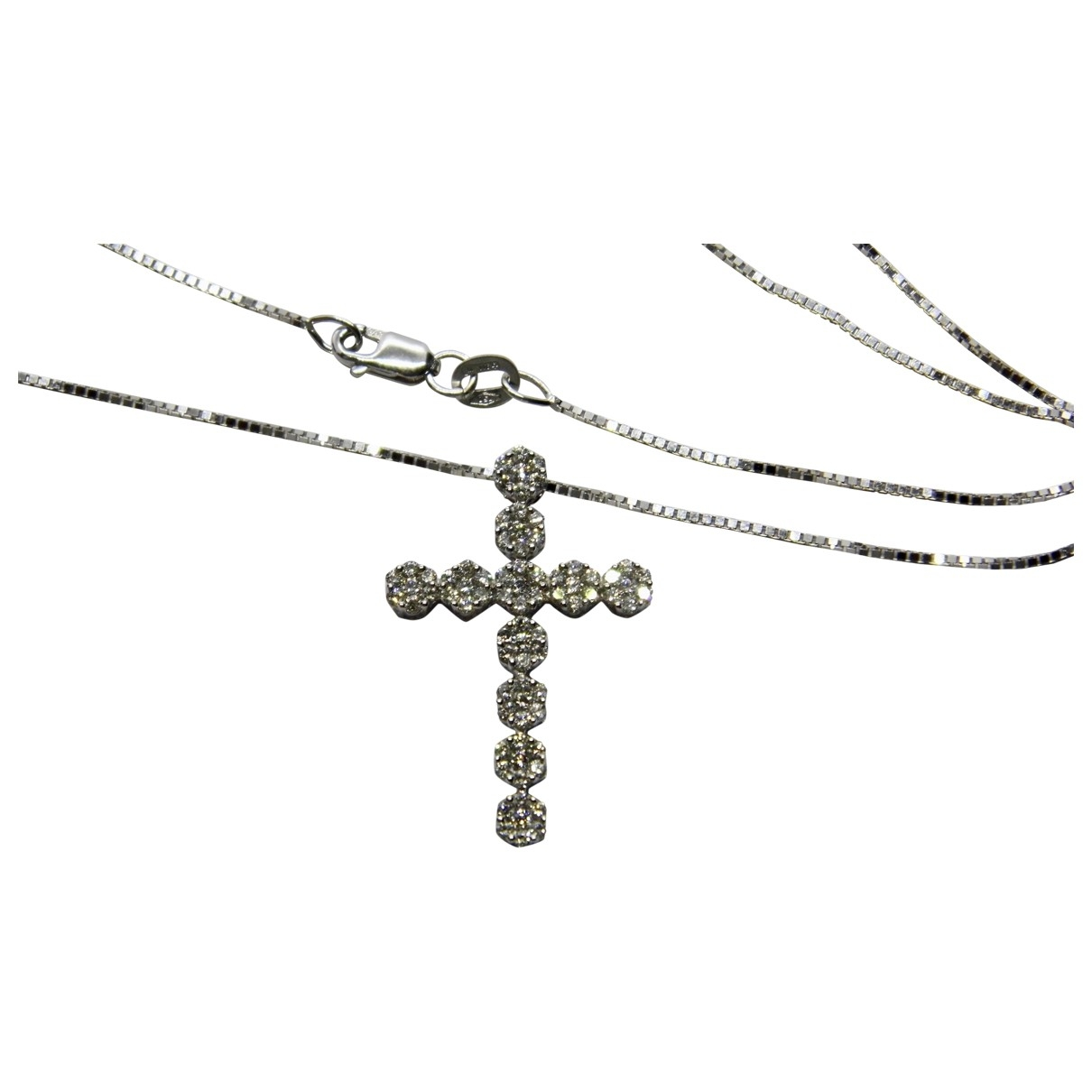 Non Signe / Unsigned Croix Kette in  Weiss Weissgold