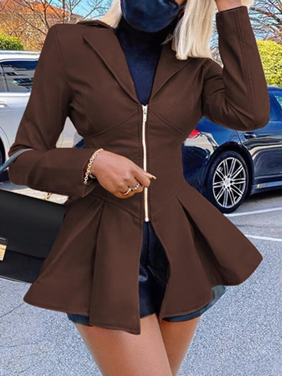 LW Lovely Trendy Turndown Collar Fold Design Brown Leather
