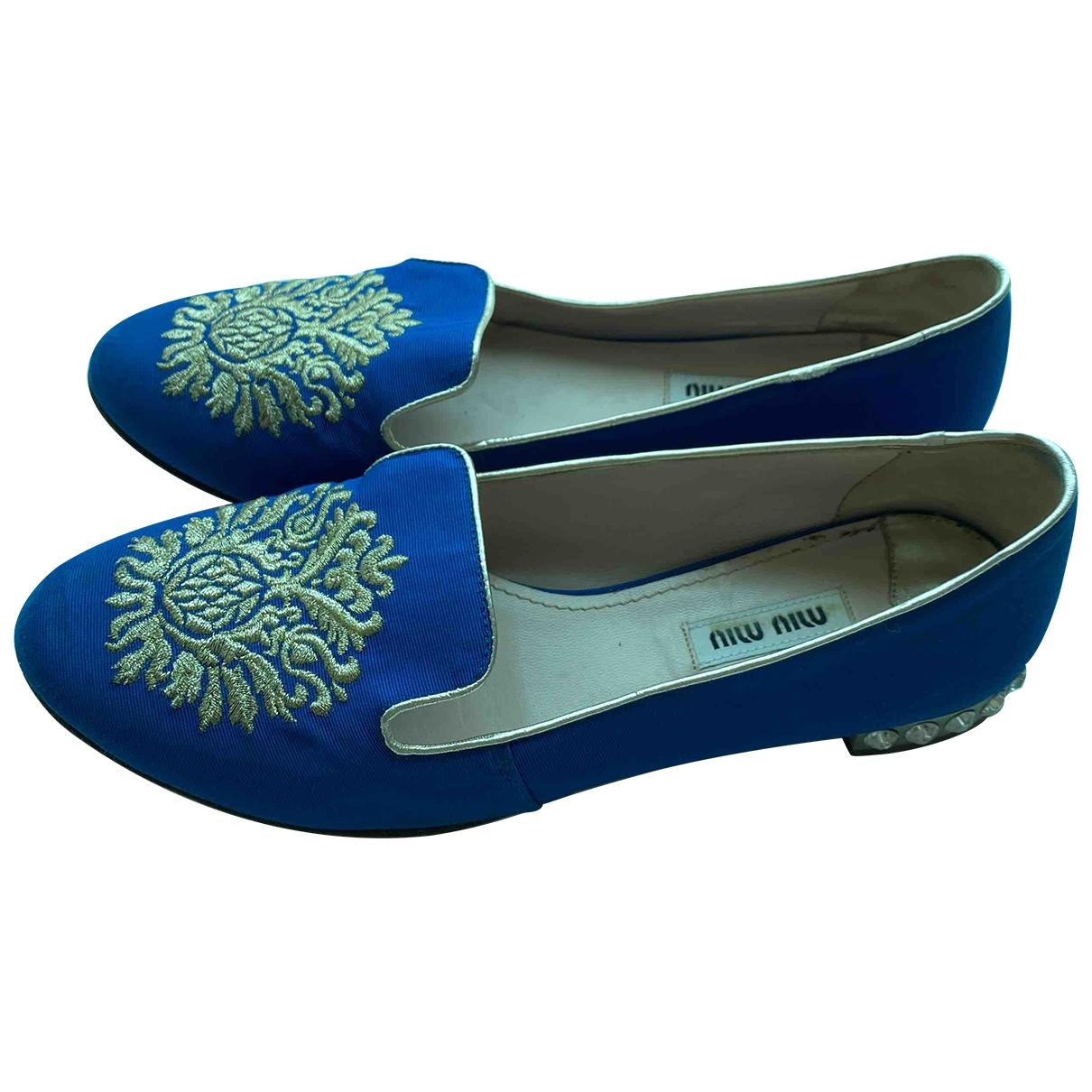 Miu Miu \N Ballerinas in  Blau Leinen