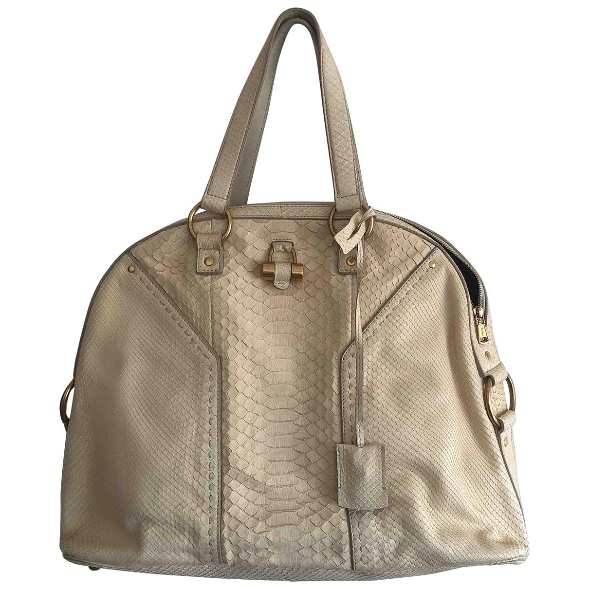 Yves Saint Laurent Muse Beige Python handbag for Women \N