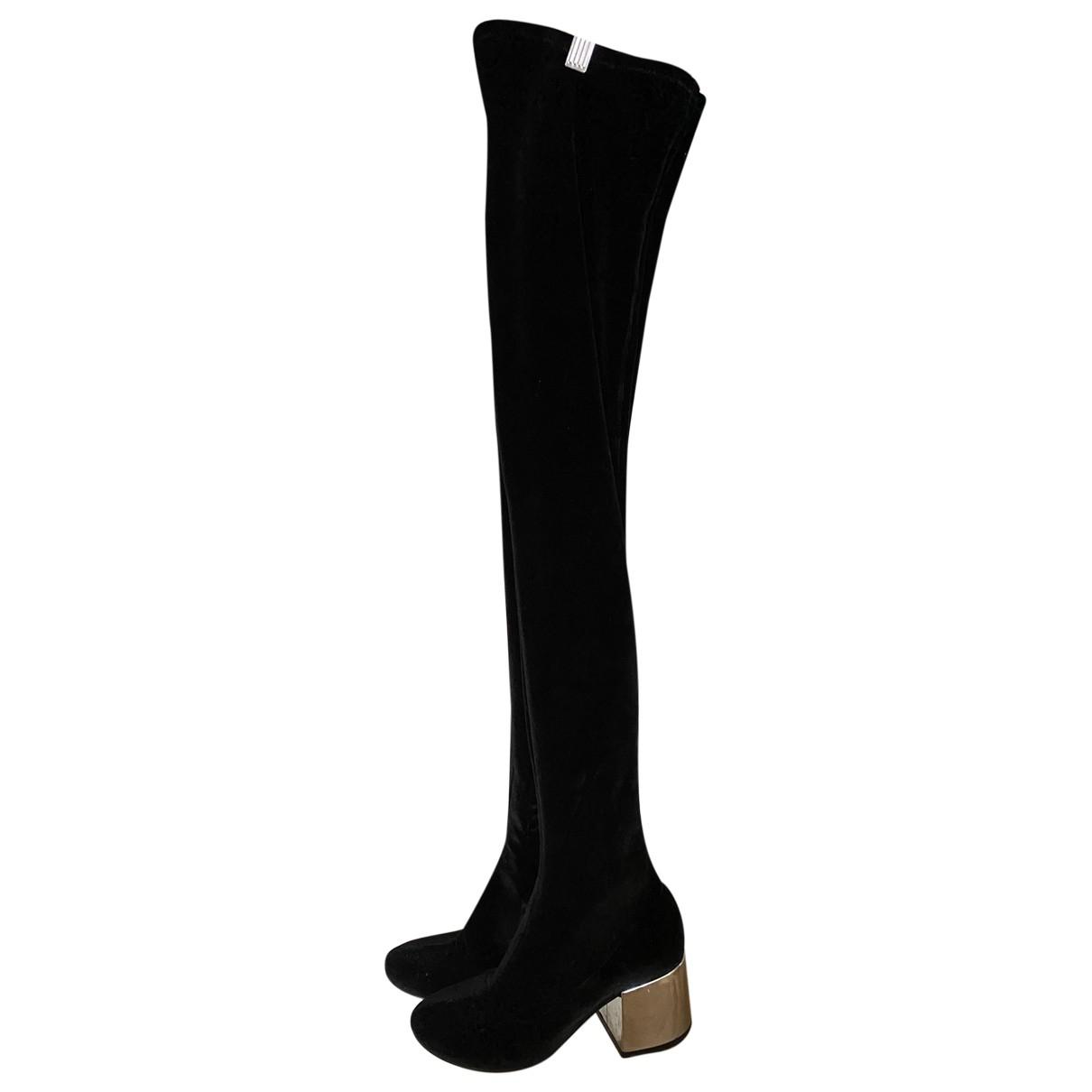 Mm6 - Bottes   pour femme en velours - noir