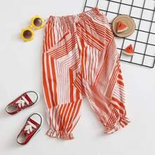 Toddler Girls Elastic Waist Striped Pants