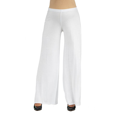 24/7 Comfort Apparel Comfortable Solid Color Palazzo Pant, 3x , White
