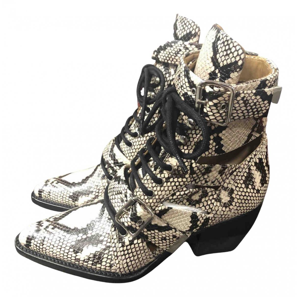 Chloe - Boots Rylee pour femme en cuir - beige