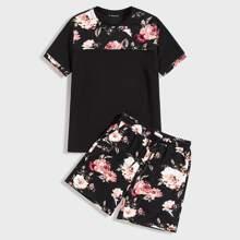 Guys Floral Print Top & Drawstring Waist Shorts Set