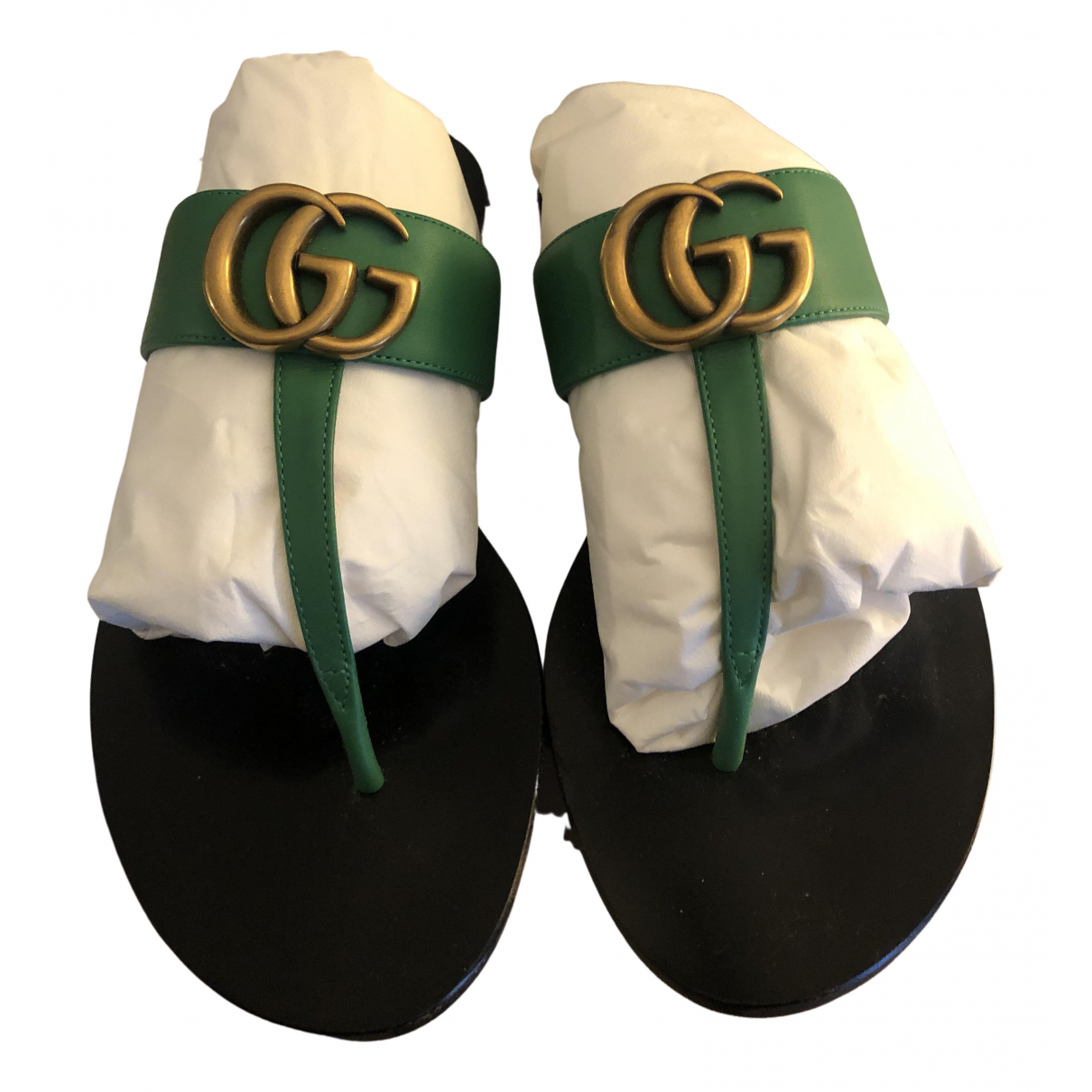 Gucci Marmont Green Leather Sandals for Women 35 IT