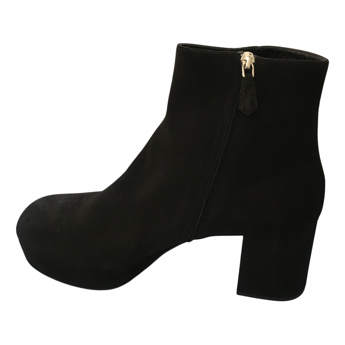 Prada N Black Suede Ankle boots for Women 40 IT