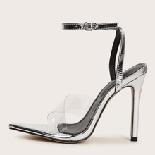 Clear Cross Strap Ankle Strap Stiletto Heeled Sandals
