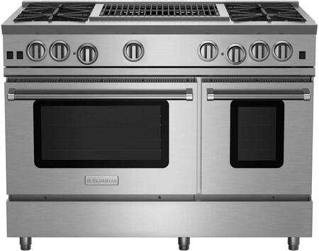 RNB484CBV2CCPLT 48 RNB Series Freestanding Gas Range with 4 Cast Iron Open Burners  4.5 Cu. Ft. Convection Oven  24 Charbroiler  Simmer Burner