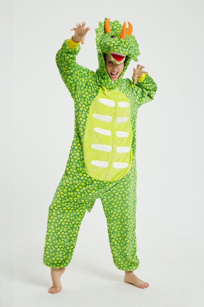 Kigurumi vert clair Triceratops pyjama Animal Onesie pour femmes vetements de nuit adulte dessin anime fete Cosplay hiver pyjamas costume bouton salop