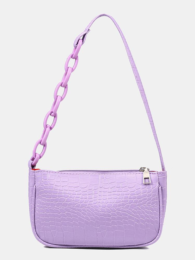Women Solid Crocodile Pattern Satchel Casual Shoulder Bag