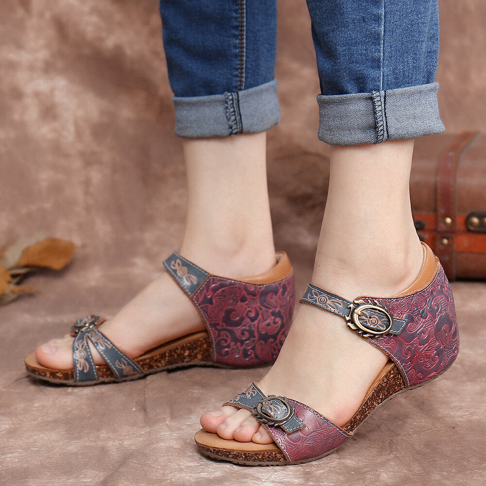 SOCOFY Vintage Leather Embossed Floral Adjustable Buckle Strap Wedge Sandals