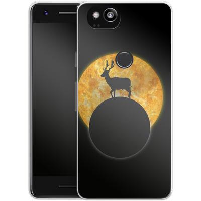 Google Pixel 2 Silikon Handyhuelle - Deer on the Moon von Barruf