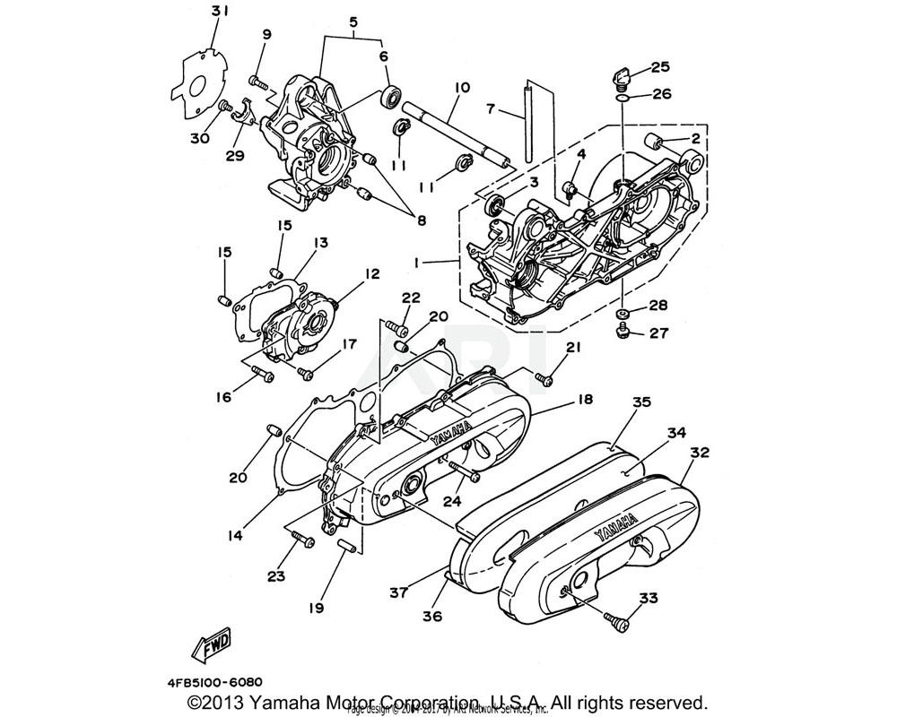 Yamaha OEM 4FB-15462-00-00 GASKET, CRANKCASE COVER 3