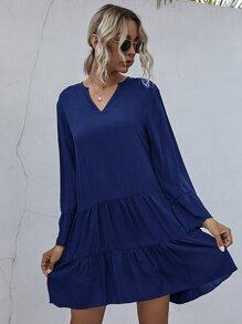 Notched Flounce Sleeve Smock Dress