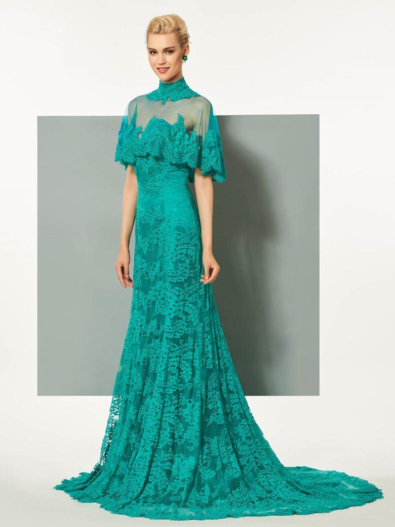 Ericdress High Neck A-Line Lace Button Floor-Length Evening Dress