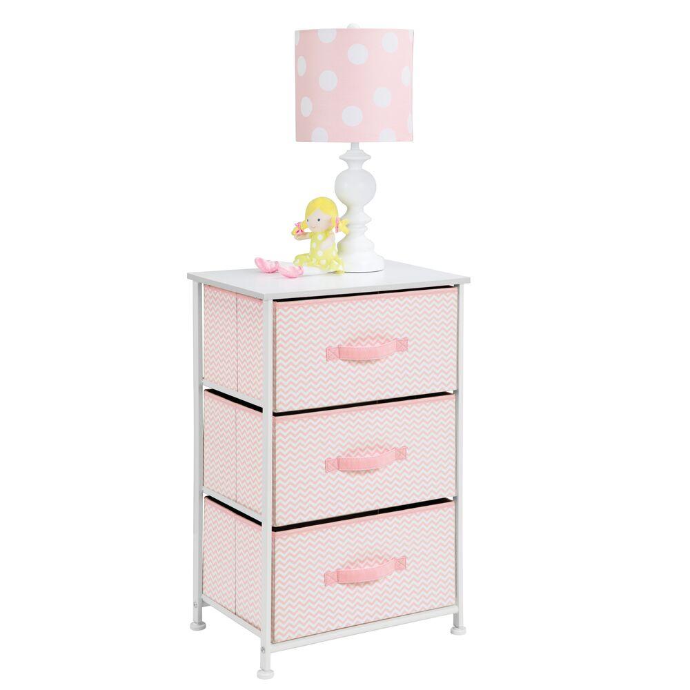 3 Drawer Tall Fabric Dresser Cabinet Storage Organizer for Baby + Kids in Pink/White Chevron, 12
