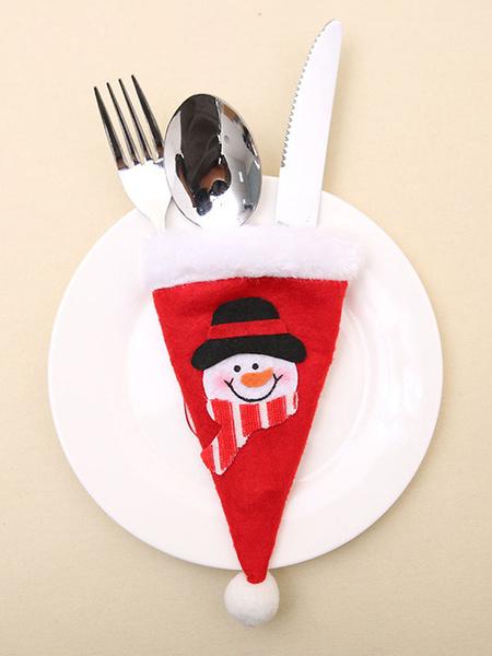 Milanoo Christmas Tableware Bag Applique Pom Pom Party Decoration