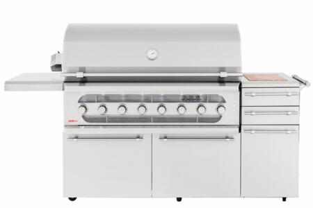 AMG54-NG 54 American Muscle Freestanding Grill with 14 Gauge #304 Stainless Steel Burners  22000 BTU Main Burners  Spring Assist Double-Lined Hood