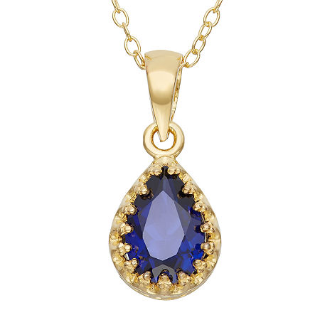 Lab-Created Blue Sapphire 14K Gold Over Silver Pendant Necklace, One Size , No Color Family