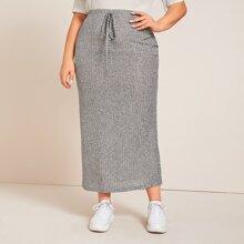 Plus Knot Waist Marled Rib-knit Skirt