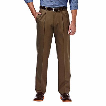 Haggar Premium No Iron Classic-Fit Pleated Khakis, 32 32, Brown