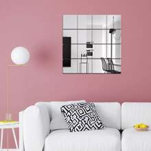 16pcs Square Mirror Surface Wall Sticker