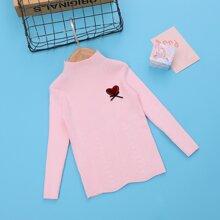 Pullover mit Herzen Flicken und Schleife