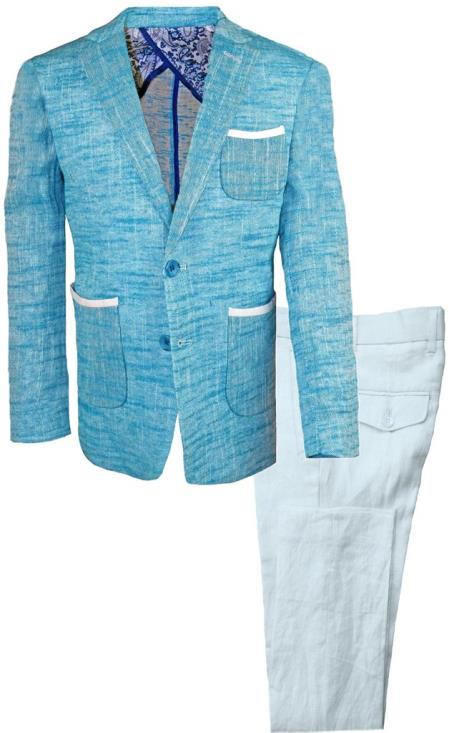 Mens Single Breasted Teal Linen Tonal Suit And Pant
