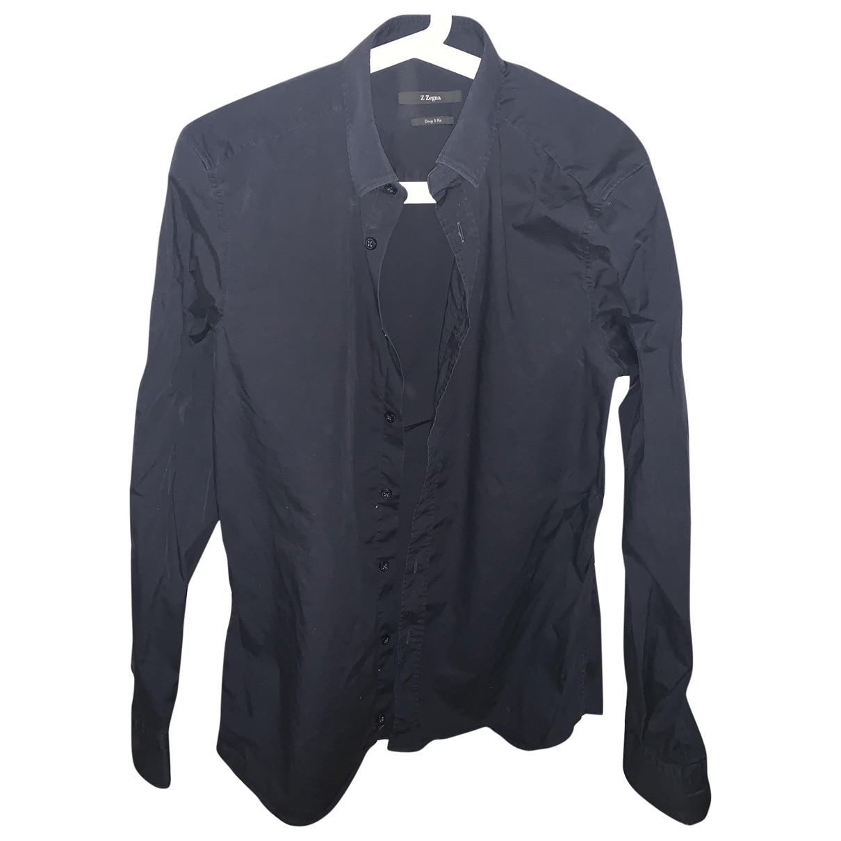 Z Zegna \N Navy Cotton Shirts for Men M International