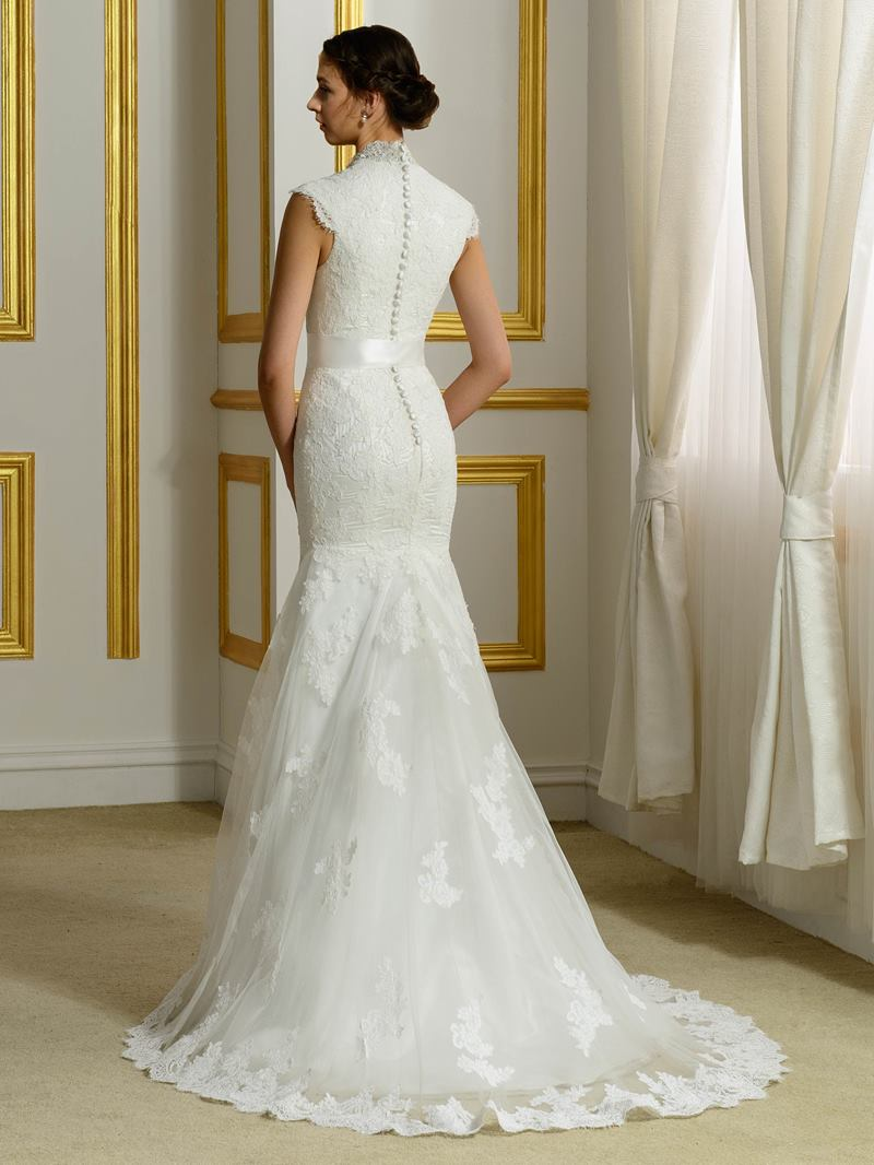 Ericdress V Neck Button Sashes Lace Mermaid Wedding Dress