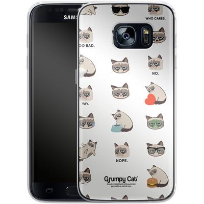 Samsung Galaxy S7 Silikon Handyhuelle - Grumpy Cat Pattern von Grumpy Cat