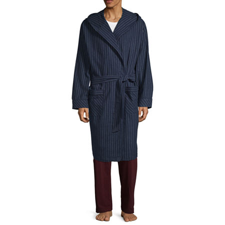 Stafford Flannel Hooded Robe, X-large-xx-large , Blue