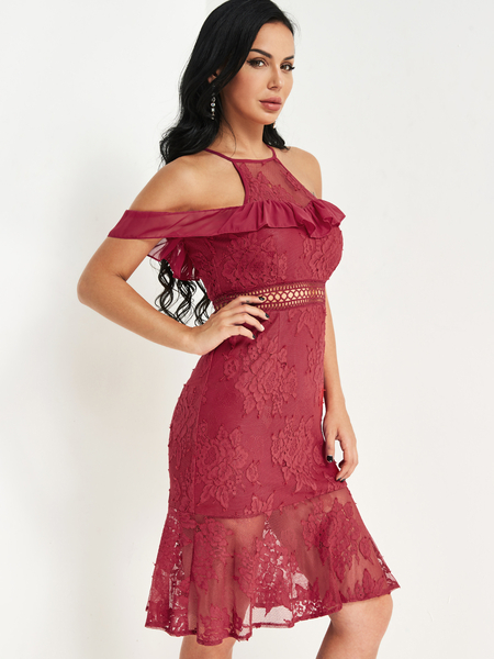 Yoins Burgundy Hollow Design Cold Shoulder Lace Dress