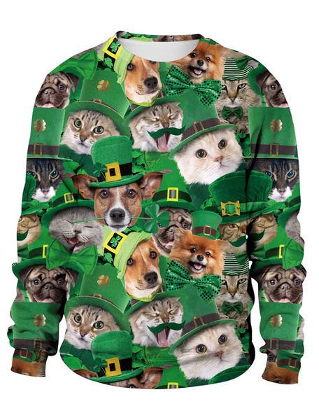 Milanoo Green Sweatshirt St Patricks Day 3D Printed Dog Cat Clover Pullover Unisex Irish Long Sleeve Top Halloween