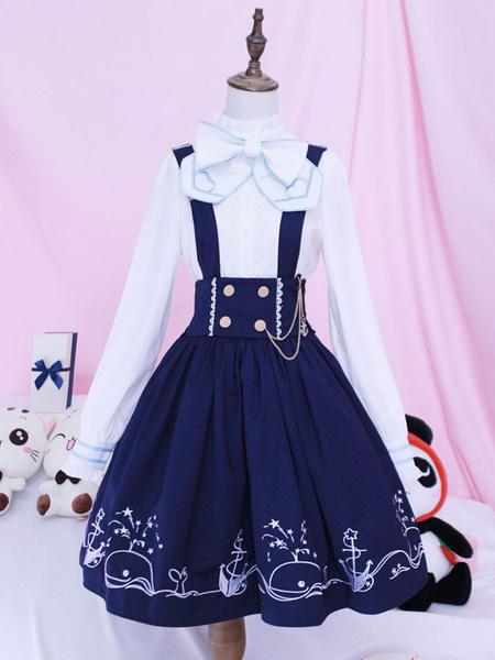 Milanoo Falda de peto de lolita SK Blue Whale Voyage Print Bows Faldas de Lolita