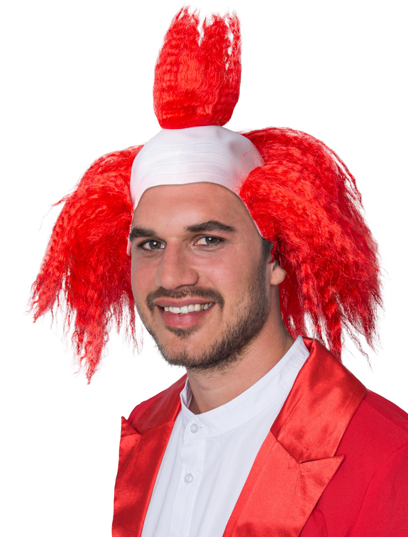Kostuemzubehor Peruecke Clown rot mit Glatze