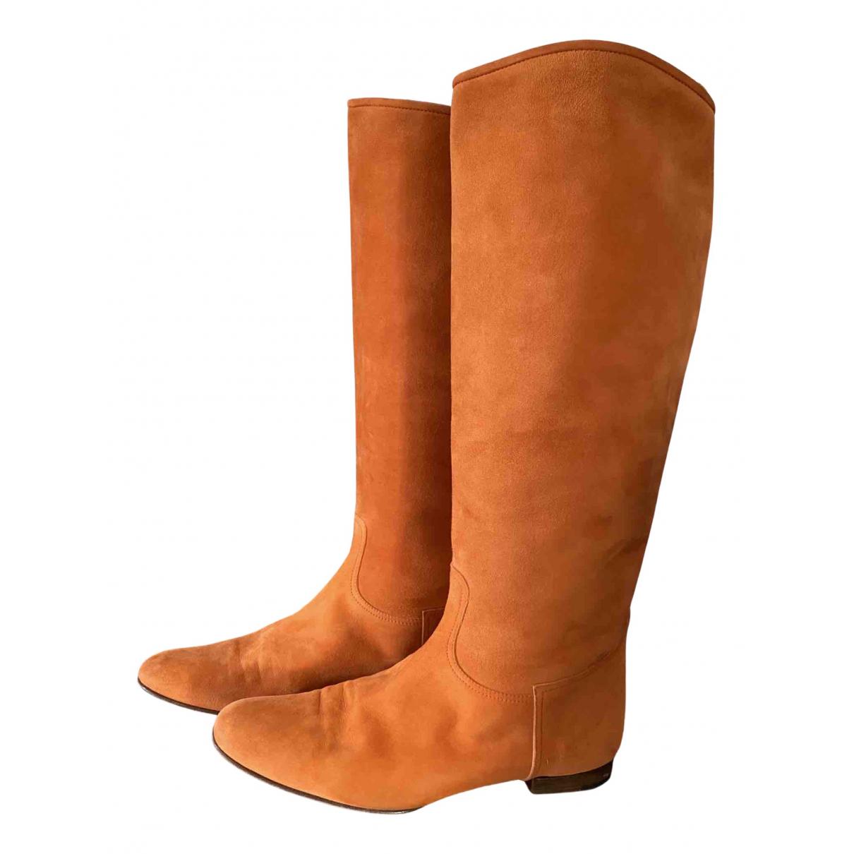 Hermes \N Stiefel in  Orange Veloursleder